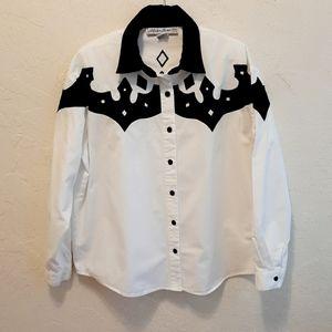 Vintage Adobe Rose Western Shirt  Black Wrap Shirt  90s Western Shirt  Black Button Shirt  Cowgirl Shirt  90s Black Cotton Shirt
